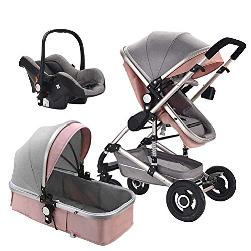 Creproly High Landscape Luxury Baby Stroller Shockproof Foldable Infant Pushchair with Car Safety Seat Combo Travel System (Light Pink)