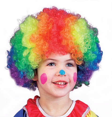 Fun World Kids Girl Boy Rainbow Clown Wig, Costume Party (Clown Wigs For Kids)