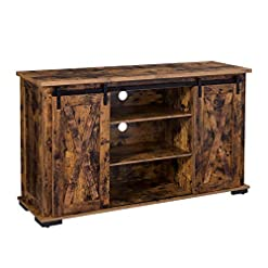 Farmhouse Living Room Furniture VASAGLE Cabinet with Storage, Adjustable Shelves and Feet, for Living Room TV Stands, 53.9″, Rustic Brown farmhouse tv stands