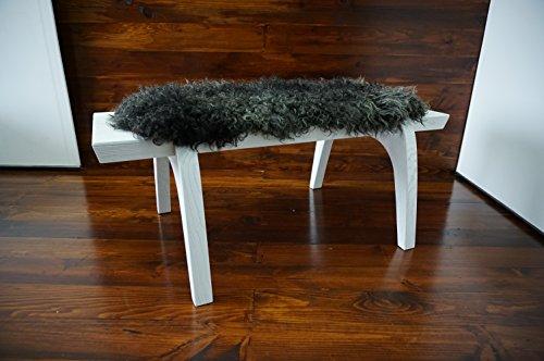 MILABERT Minimalist white Oak wood bench Upholstered curly b