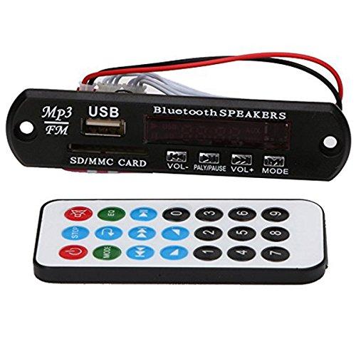 SODIAL(R) Car Audio Bluetooth USB SD TF MP3 WMA Decoder Board 12V Wireless Audio Module Audio Player Module WMA Board Speaker