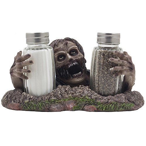 [Graveyard Zombie Glass Salt and Pepper Shaker Set Figurine Sculpture Halloween Decoration & Decorative Bar or Kitchen Tabletop Accent and Gothic] (Zombie Decoration)