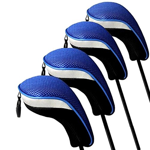 (ActionEliters Golf Wood Club Head Covers - Pack of 4 Interchangeable No. Tags Neoprene Mesh Golf Fairway Wood Club Headcovers)