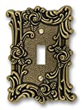 AmerTac 60TAB Amerelle Provincial 1 Toggle Wallplate, Antique Brass