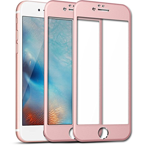 iPhone 6 Plus 6S Plus Screen Protector, SmartLegend [2-Pack] 9H Premium HD Clear Full Coverage Tempered Glass Screen Protector Films with Metal Frame Design for iPhone 6/6S Plus 5.5 inch - Rose Gold