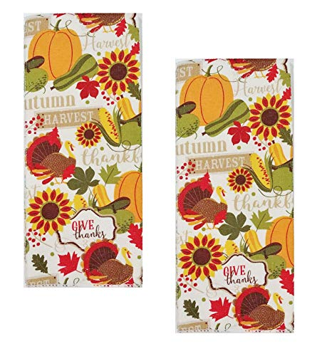 A&T Designs Set of 2 Autumn Harvest - Give Thanks - Thanksgiving Kitchen Hand Dish Towels - (Turkey, Sunflowers, Pumpkins, Fall - Give Harvest Thanks