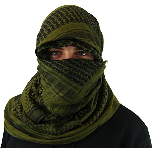 Maddog Sports Shemagh Tactical Desert Scarf - Olive/Black