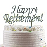 JennyGems Happy Retirement Cake Topper - Sparkling Rhinestones With Gold Trim - Retirement Party Decoration