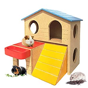 kathson Pet Small Animal Hideout Hamster House with Funny Climbing Ladder Deluxe Two Layers Wooden Hut Play Toys Chews for Small Animals Like Dwarf Hamster and Mouse 28