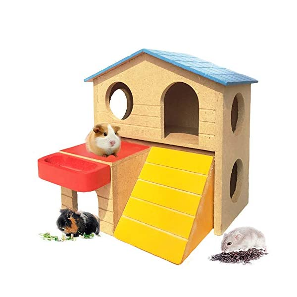 kathson Pet Small Animal Hideout Hamster House with Funny Climbing Ladder Deluxe Two Layers Wooden Hut Play Toys Chews for Small Animals Like Dwarf Hamster and Mouse 1