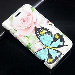 Stieg mariposa PU de piel de cuerpo entero Cartera Funda con soporte y ranura para tarjeta galaxia de Samsung i9500S4