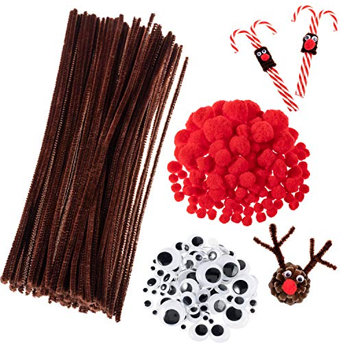 Whaline 350 Pcs Christmas Pipe Cleaners Set Including 100 Pcs Brown Craft Chenille Stems, 100 Pcs Multi Sized Wiggle Googly Eyes and 150 Pcs Pompoms for Christmas Craft Party DIY Art Supplies (Brown Red Art)