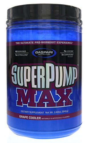 (Gaspari Nutrition Super Pump Max, Pre Workout Supplement 40 Servings, Non-Habit-Forming, Sustained Energy & Nitric Oxide Booster Supports Muscle Growth, Recovery & Replenishes Electrolytes, Grape)