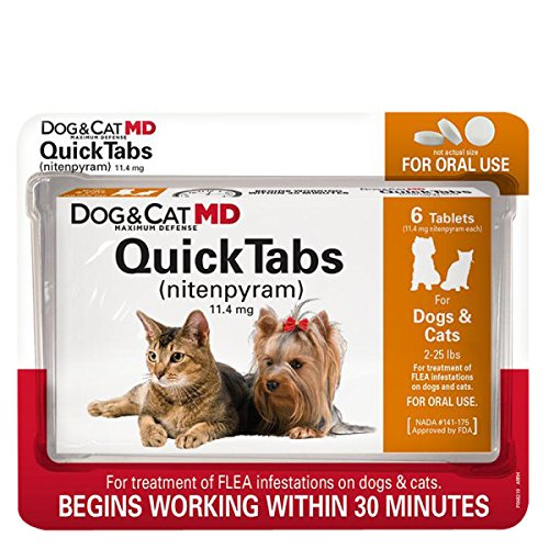 25 Lbs Flavor Tabs - Dog & Cat MD Maximum Defense QuickTabs Nitenpyram Flea Treatment, 2-25 lbs, 6 Tablets by Dog MD