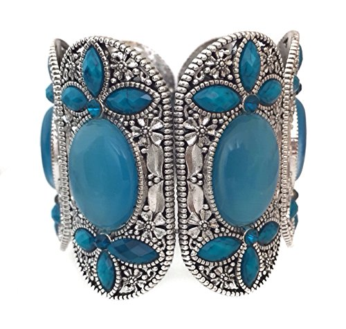 [Wide Blue Gem and Rhinestone Silver Tone Statement Cuff Bangle Bracelet] (Little Girl Gypsy Costumes)