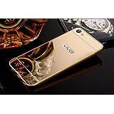 Novo Style Luxury Mirror Effect Acrylic back + Metal Bumper Case Cover for Vivo V5 - Golden