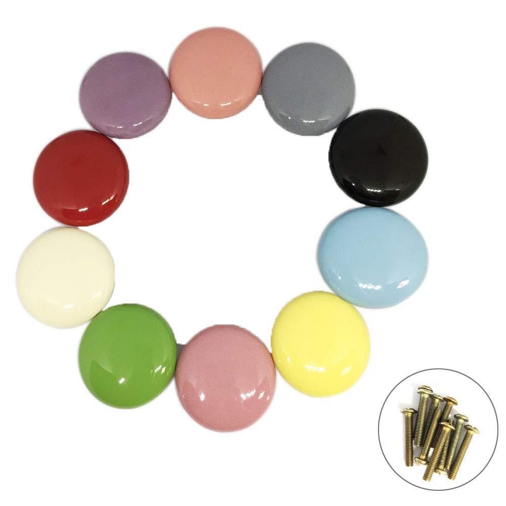 ShipeeKin 10x Boutons de porte coloré s mignon rond de tiroir en cé ramique poigné e de traction 32mm pour la Chambre des enfants (ivoire, rouge, bleu, jaune, vert, rose, rose pâ le, violet, noir, gris) rose pâle