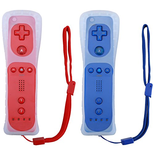 Poulep 2 Packs Gesture Controller with Silicone Case and Wrist Strap Compatiable for Nintendo wii Wii U Gamepad Console (red and deep Blue) -