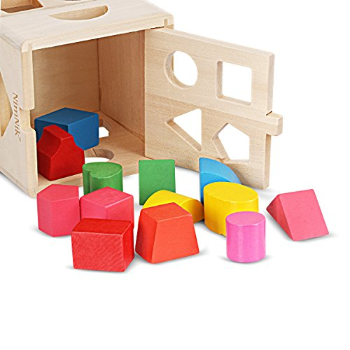 Wooden Shape Sorting Cube Classic Square Shape Sorter Baby First Blocks Shape-Sorting Toy for Early Learning for 3 Year Olds by (Birthday Gift Ideas 2 Year Old Boy)