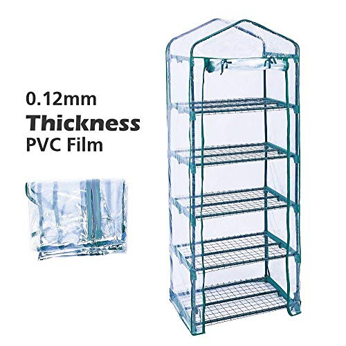 Homes Garden 5-Tier Shelves Mini Indoor/Outdoor Greenhouse Warm Tight Commercial PVC Clear Greenhouse Plant Flower Grow Tent Zipper Roll Up Front 27 in. L x 19 in. W x 76 in. H #G-G304A00 by Homes Garden (Image #2)