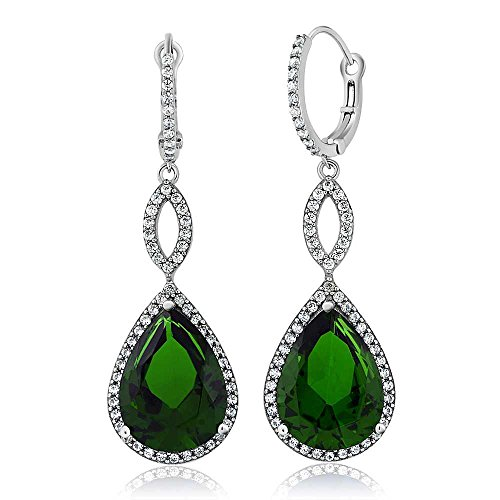 Gem Stone King 12.75 Ct 2inches Pear Shape Green Nano Emerald 925 Sterling Silver Dangle Earrings 2 ()