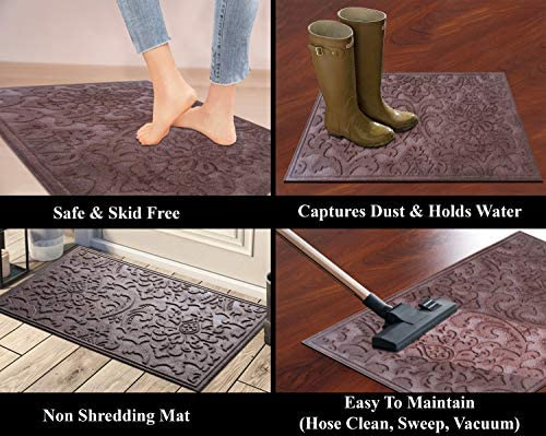 A1HC First Impression Brocade 24 in. x 36 in. Eco-Poly Scraper Mats with Anti Slip Fabric Finish tire Crumb Backing Chocolate-Brown