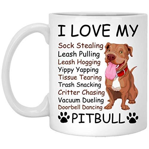 I Love My Sock Stealing Leash Pulling Pitbull Mug Gifts (Pit Pulling Bull)