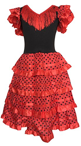 Childs Flamenco Dress (La Senorita Spanish Flamenco Dress Costume - Girls / Kids - Red / Black (Size 4 - 3-4 years, red black))