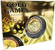 Gold Games Luxury Roulette Set, Create Your Own Casino, Wheel with 2 Steel Balls, 50 Poker Chips, Roulette, Po