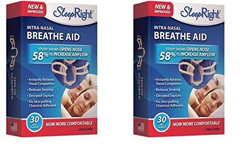 SleepRight Intra-Nasal Breathe Aids Breathing Aids for Sleep Nasal Dilator 30 Day - 2 Pack