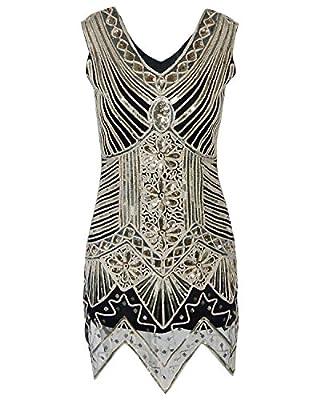 BABEYOND Women's V Neck Great Gatsby Flapper Costume Art Deco 1920 Dresses for Women