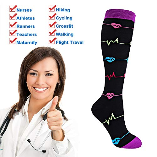 EHbee 3 Pairs Compression Socks for Women & Men 15-20 mmHg, Perfect Compression Stockings for Nurse,Running, Maternity Pregrancy, Flight, Travel, Medical,Sport. (Assorted1, L/XL) by EHbee (Image #5)