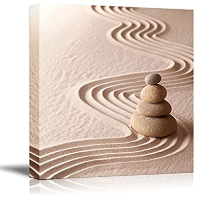 Zen Meditation Garden Relaxation and Meditation Through symplicity Harmony and balancce Gallery Wood Framed - Canvas Art Wall Art - 16