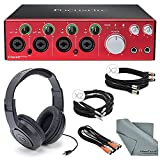 Focusrite Clarett 4Pre - Thunderbolt Audio Interface Bundle with 2x XLR Cable + 2 MIDI to 2 MIDI (Dual) Cable + 2x 1/4 Inch Cable + Samson Stereo Headphones + FiberTique Cleaning cloth