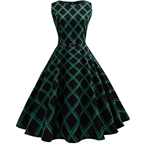 (Plaid Print Vintage Dress Women Summer Floral Swing Party Dress 50s 60s Plus Size,XX-Large,1020-618)
