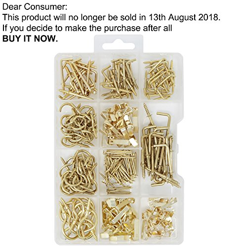 T.K.Excellent Brass Plated Picture Hangers and Cup Hooks,Square Hooks Assortment Kit,250 Pieces