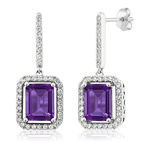 Gem Stone King Sterling Silver Purple Amethyst Women's Dangle Earrings 5.46 cttw Emerald Cut Gemstone Birthstone 9X7MM