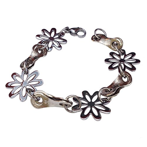 - Velo Bling Designs Stainless Steel Daisy Chain Bracelet, Medium