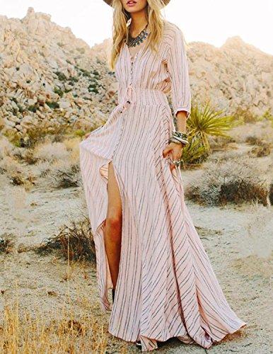 MODETREND Mujer Vestido Casual Verano de V-Cuello Maxi Vestido de Fiesta Largo para Boda Noche Foto Color