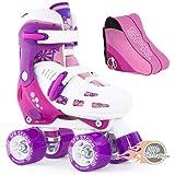 SFR Storm II Children's Adjustable Quad Roller Skates Kids Pink/Purple With Skate Bag - By Oli's