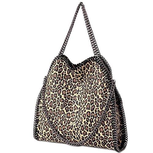 Artone De Las Mujeres Pu Casual Chain Totalizador Bolsa De Hombro Con Pelota de Piel Negro Bolsa de hombro de leopardo de albaricoque