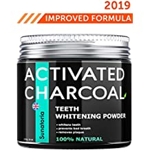 Activated Charcoal Teeth Whitening Powder - Product of UK by Sunatoria – Natural Coconut Teeth Whitener – Effective Remover Tooth Stains for a Natural Healthier Whiter Smile – Improved 2019 Formula