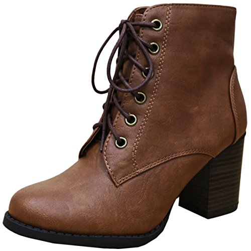 Cambridge Select Women's Zipper Lace Up Chunky Heel Ankle Bootie
