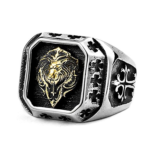 - LILILEO Jewelry Titanium Steel Plated Gold Lion Head Ring For Men's Rings