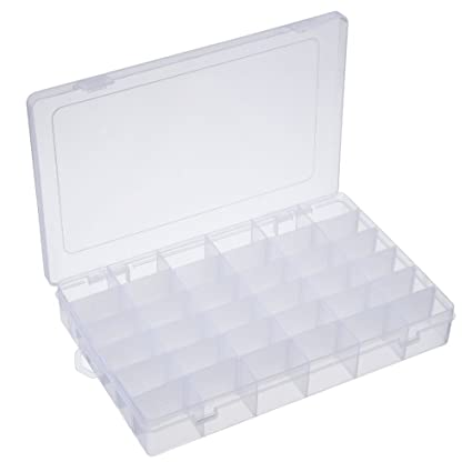 Opret Jewelry Organizer, Plastic Jewelry Box(36 Grids) Adjustable Dividers Earring  Storage Containers