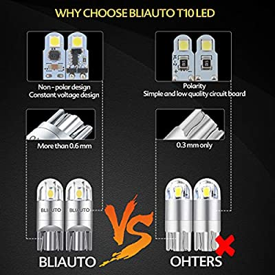 BLIAUTO 194 168 Led Bulb Ice Blue, T10 W5W 2825 2SMD Led Bulb, License Plate Light Bulbs for Car Interior Dome Map Door Turn Signal Trunk Clearance Compact Wedge Parking Side (2PCS): Automotive