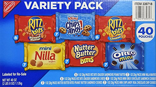 Nabisco Mini Snack Variety Pack, 40 Count -