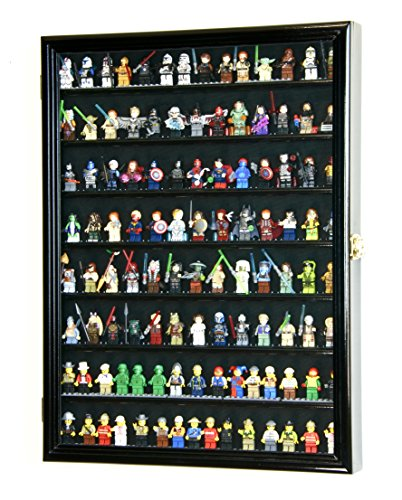 sfDisplay.com,LLC. Large 110 Lego Men Miniatures Legos Minifigures Display Case Cabinet Holder Lockable Black Wood Finish