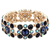 EVER FAITH Gold-Tone Round Austrian Crystal Vintage Style Elastic Stretch Bracelet Blue Sapphire-color