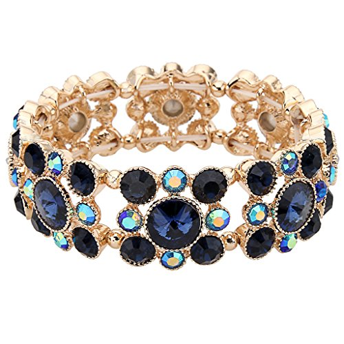 Rhinestone Bracelet Gold Tone - EVER FAITH Gold-Tone Round Austrian Crystal Vintage Style Elastic Stretch Bracelet Blue Sapphire-Color